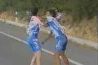 fighting bike racers