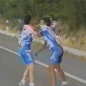 fighting bike racers