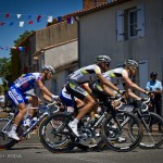 Olonne-sur-Mer to Redon, stage 3 of Le Tour. Slovak, Peter Velits and Dane, Lars Bak make their way through another quaint French village.
