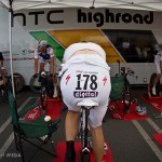 Stage 2 Team Time Trial in Les Essaarts, France. HTC prodigy, Tejay van Garderen is warming up before this very important stage.