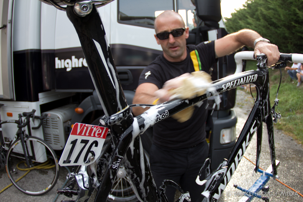 The finish of stage 3 of the Tour de France in Redon. HTC mechanic, Guido ensures every bike looks like new before the start of tomorrow's stage.