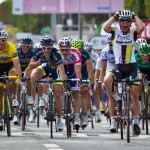 Stage 7 sprint finish in Chateauroux, France. HTC Sprinter, Mark Cavendish of Great Britian wins again in the same city where he won his first ever Tour de France stage - he even re-enacted the same victory salute from 2008.