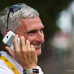 Stage 7 finish in Chateauroux, France. HTC team director, Allan Peiper phones in the good news that the team has won again.