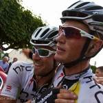 Stage 7 finish in Chateauroux, France. HTC teammates Bernie Eisel and leadout star, Mark Renshaw celebrate the second stage win for the team in this year's Tour.