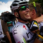 Stage 7 finish in Chateauroux, France. Mark Cavendish disburses his well-known hugs after stage win number two for the sprinter from the Isle of Man.