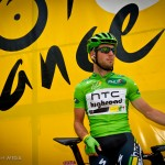 Stage 13 start in Pau, France. Mark Cavendish is about to take his green sprint jersey in to the mountains - will he be able to keep it?