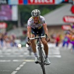 Stage 13 finish in Lourdes, France. HTC-Highroad's Lars Bak of Denmark was in the break all day and rode in just off the pace of stage winner Thor Hushovd (Garmin-Cervélo) from Norway.