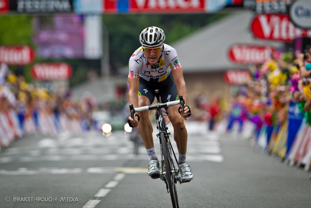 Stage 13 finish in Lourdes, France. HTC-Highroad&#039;s Lars Bak of Denmark was in the break all day and rode in just off the pace of stage winner Thor Hushovd (Garmin-Cervlo) from Norway.