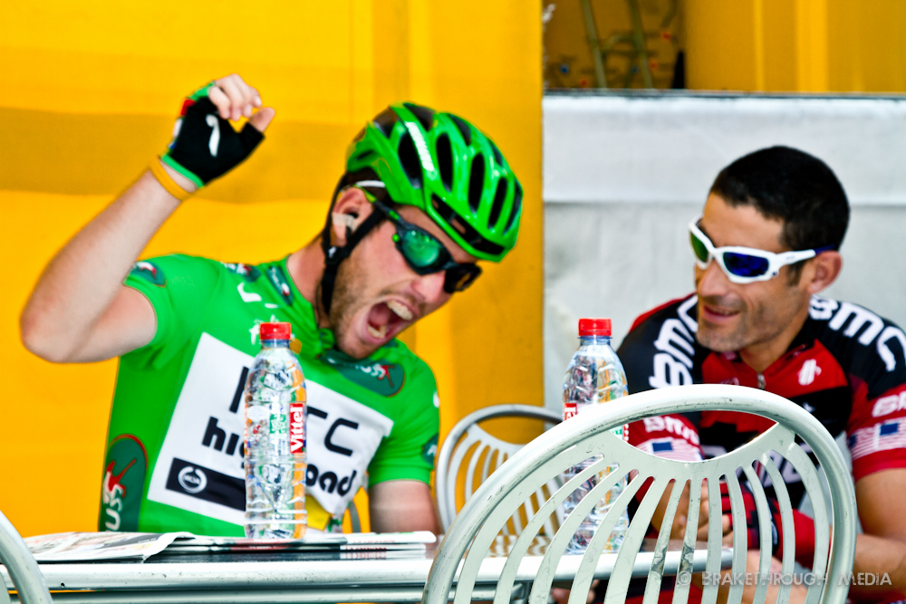 Pau, France hosts the start of stage 13. Mark Cavendish is quite emphatic in his storytelling for former teammate, George Hincapie of Team BMC.