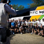 Drome, France and rest day number 2. Renowned photographer Tim DeWaele captures, unbeknownst to him, one of the last HTC-Highroad team photos from the Tour.