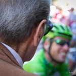 Stage 18 start in Pinerolo, Italy. An Italian cycling VIP looks on at the youth movement in cycling, led by Mark Cavendish of HTC-Highroad.