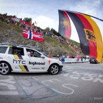 The 19th stage of the Tour de France from Modane to Alpe-d'Huez, France. The Team HTC-Highroad support car rolls up the climb towards the finish and sees much support from German fans along the way.