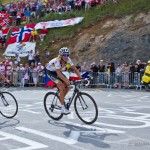 The final climb of stage 19 up to Alpe-d'Huez. HTC-Highroad's overall hope is riding towards a solid 4th place finish on the illustrious mountain.