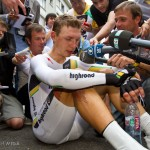 Stage 20 in Grenoble, France. Time Trial winner Tony Martin of Germany, is hounded by the media moments after his ride.
