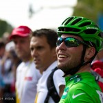 Stage 21 of the Tour - Paris, France. Mark Cavendish looks back at the jumbo-tron replay of his incredible win on the Champs Elysees.