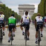 Stage 21 of the Tour - Paris, France. During the traditional parade lap for the teams, hijinx like wheelies from Mark Renshaw are pretty common.