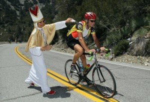 Catholic support for cycling is well known (photo courtesy of Jeff Gross, Getty Images North America)