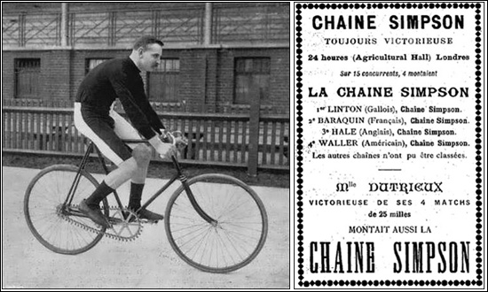 Photograph of Edward 'Teddy' Hale and Chaine Simpson advertisement marking the success of their riders in the 1896 Islington Six. As well as Linton, Baraquin, Hale and Waller, Dutrieux was also racing using a Simpson chain. Source: SixDay.org.uk