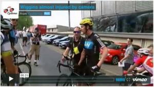 Wiggins almost injured by TdF camera image