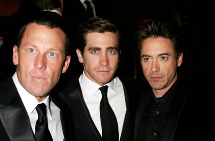 Robert Downey Jr has reached out to Lance Armstrong. The pair shown in much happier times with Jake Gyllenhall (center) (photo courtesy IMDB)