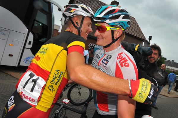 "Greipel and Gilbert share a moment during times where the alleged ""doping,"" exposed by hidden camera, had occurred. (photo courtesy ispaphoto.com via cyclingnews.com)"