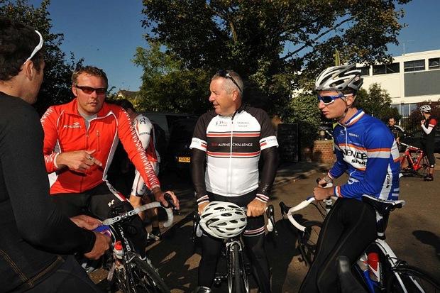 Cyclosport End of Season Ride 2011 (l-r) Yanto Barker of Team UK Youth, Dan Ellmore, Triple Crown Winner Stephen Roche, and Kieran Frend of Anpost SeanKelly