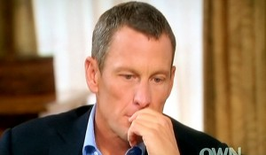 Armstrong being interviewed by Oprah Winfrey