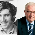 Jim Burns, Irish teacher in South Africa, circa 1976 (left) and today (right)